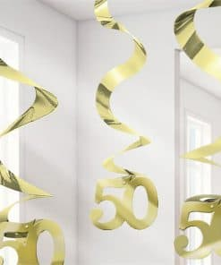 50th Gold Sparkling Wedding Anniversary Hanging Swirls Party Decoration