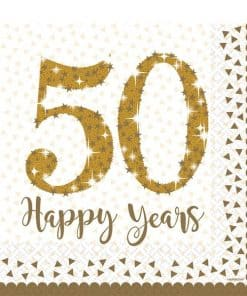 50th Gold Sparkling Wedding Anniversary Paper Napkins
