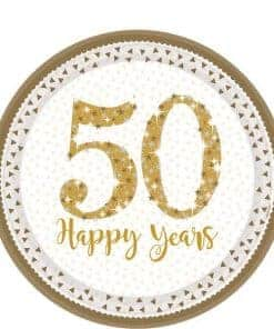 50th Gold Sparkling Wedding Anniversary Paper Plates