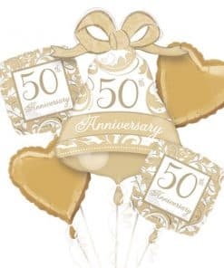50th Gold Sparkling Wedding Anniversary Balloon Bouquet