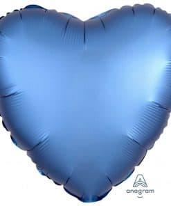 Azure Blue Heart Satin Luxe Foil Balloon