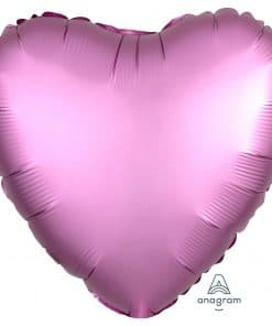 Flamingo Pink Heart Satin Luxe Foil Balloon