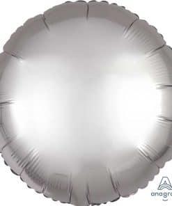 Platinum Silver Circle Satin Luxe Foil Balloon