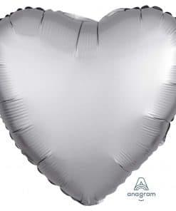 Platinum Heart Satin Luxe Foil Balloon