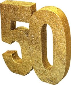 Age 50 Gold Glitter Table Decoration