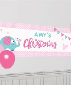 Christening Day Pink Personalised Banner