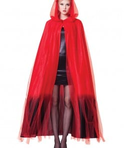Halloween Red Ombre Hooded Cape