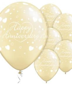 Happy Anniversary Hearts Printed Latex Balloons