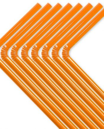 Orange Plastic Flex Straws