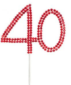 Red 40th Anniversary Diamante Cake Pick