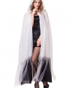 Halloween White Ombre Hooded Cape