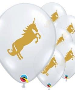 Golden Unicorn Printed Latex Balloons
