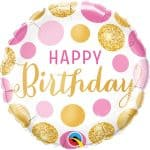 Happy Birthday Pink Gold Dots Balloon