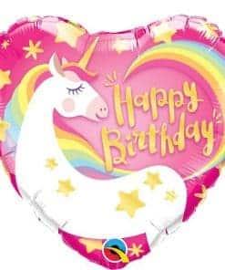 Happy Birthday Unicorn Heart Foil Balloon