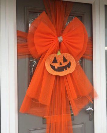 Orange Halloween Pumpkin Deluxe Door Bow Decoration