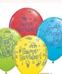 "Spongebob Party ""Happy Birthday"" Printed Latex Balloons"