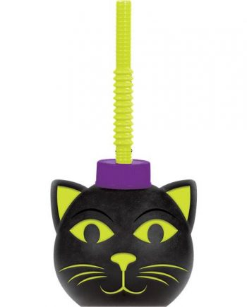 Halloween Party Spooky Cat Cup With Straw