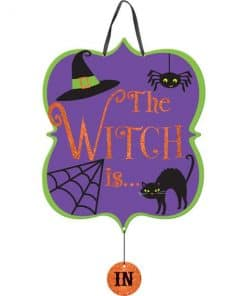 Halloween The Witch Is In Out Sign