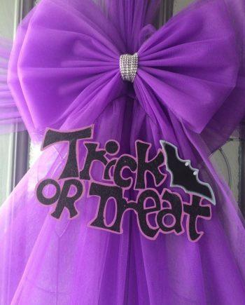 Purple Halloween Trick or Treat Deluxe Door Bow Decoration