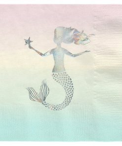 We Heart Mermaid Party Paper Napkins