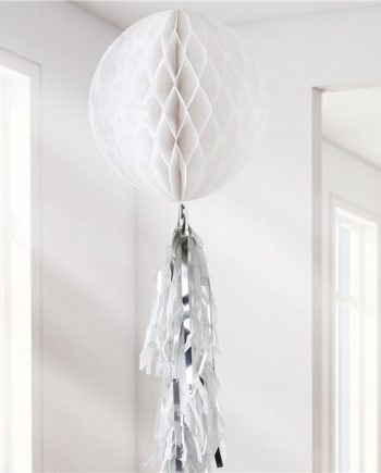 White Honeycomb Ball and Tassel Decoration
