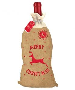 Christmas Hessian Bottle Bag