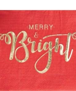 Merry & Bright Christmas Party Paper Napkins