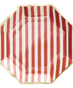 Merry & Bright Foiled Christmas Stripe Paper Plates