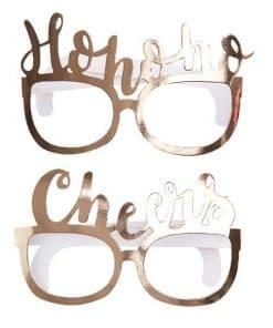 Merry & Bright Fun Festive Gold Glasses