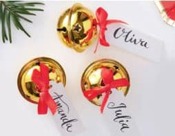 Merry & Bright Christmas Party Gold Bell Place Card Holders