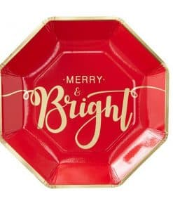 Merry & Bright Foiled Christmas Paper Plates