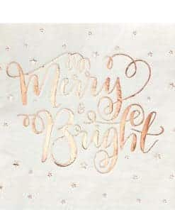 Merry & Bright Christmas Party Star Rose Gold Paper Napkins