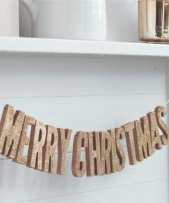 "Rose Gold Metallic Star Wooden Glitter ""Merry Christmas"" Bunting"