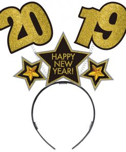 2019 New Years Black, Silver and Gold Glitter Cardboard Bopper