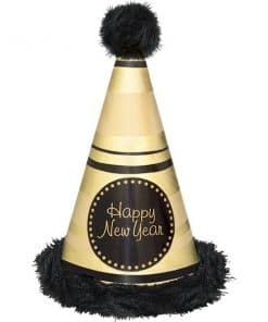 "Black & Gold ""Happy New Year"" Marabou Hat"