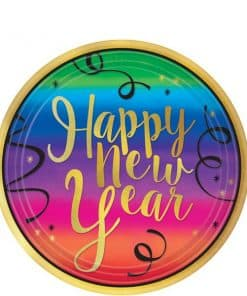 Colourful New Year Dessert Paper Plates