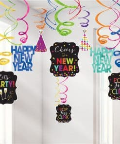 Colourful New Year Hanging Swirl Decorations