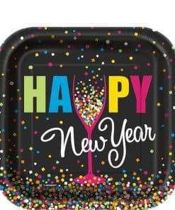 Confetti New Year Paper Dessert Plates