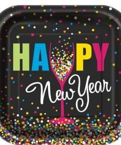 Confetti New Year Paper Plates
