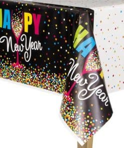Confetti New Year Plastic Tablecover