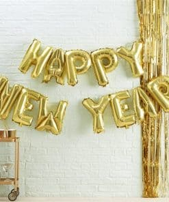 Gold Metallic Star Happy New Year Balloon Bunting