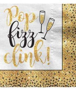 Golden New Year Glitter Paper Beverage Napkins