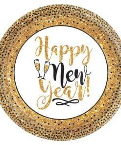 Golden New Year Dessert Paper Plates