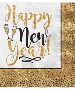 Golden New Year Glitter Paper Napkins