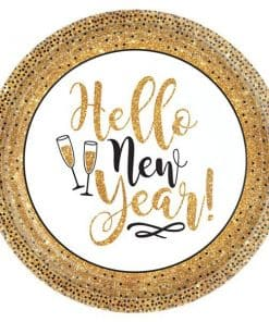 Golden New Year Paper Plates