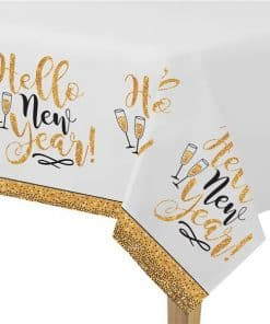 Golden New Year Glitter Plastic Tablecover