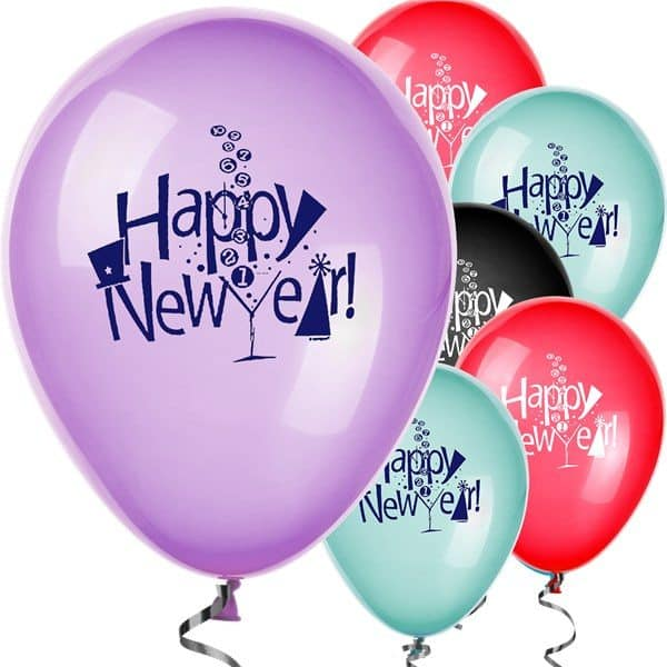 Happy New Year Balloons - Assorted Colours - 12