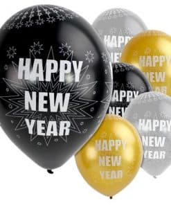 Happy New Year Silver & Black Balloons