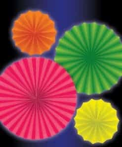 Glow in the Dark Neon Paper Fan Decorations