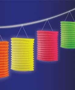 Glow in the Dark Neon Paper Lantern Garland